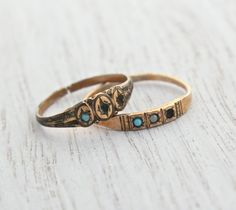 Lot Of 2 Antique Gold Filled Rings For Repair Victorian Turquoise Seed Pearl Jewelry Repurpose Baby Knuckle Midi