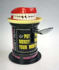 Money Hungry Mechanical Bank Poynter 1975 Put Money Where Mouth Is Works Box Pennies From Heaven, Piggy Bank, Spy, It Works, Money, Money Box, Silver, Money Bank, Nailed It