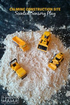Calming Construction Site Sensory Play for Kids - with DIY Moon Sand and Essential Oils at B-Inspired Mama