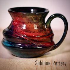 Spectral Mug by Amanda Joy Wells of Sublime Pottery. It looks like a gorgeous cosmic rainbow 😍 Contemporary Ceramics, Mug Cup, Ceramics Ideas, Ceramic Pottery, Product Ideas, Wells, Cosmic, Glaze, Amanda