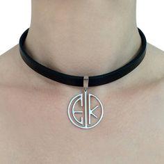 Custom monogram choker necklace two by CustomLeatherDesign on Etsy