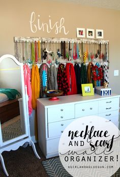 necklace and scarf wall organizer a girl and a glue gun