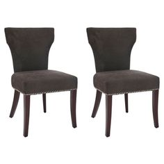Safavieh Matty Chocolate Brown Nailhead Side Chairs (Set of 2) | Overstock.com