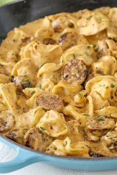 Sausage Tortellini Alfredo is pure comfort food! Alfredo flavored with sausage & mixed with tortellini – it's a favorite pasta dinner recipe of ours! Tortellini Alfredo, Fettucine Alfredo, Sausage Tortellini Soup, Alfredo Chicken, Chicken Pasta, Easy Pasta Dinner Recipes, Easy Meals, Easy Tortellini Recipes, Side Dishes