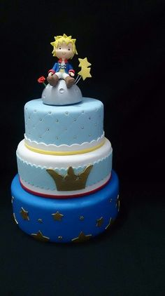 Bolo Cenográfico - Pequeno Principe Little Prince Party, The Little Prince, Half Birthday Cakes, Birthday Parties, Prince Birthday Theme, Prince Cake, Baby Shower Cakes, First Birthdays, Cupcake Cakes