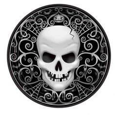 Serve up some spooky treats with Fright Night Dinner Plates! Fright Night Dinner Plates feature images of a spooky skeleton face with eerie spider-web-influenced silver scrollwork throughout. Value Pack includes 18 paper dinner plates, 10 diameter. Buffet Halloween, Dessert Halloween, Halloween Cups, Halloween Party Supplies, Halloween Home Decor, Halloween Decorations, Halloween Parties, Haunted House Decorations, Haunted House Props