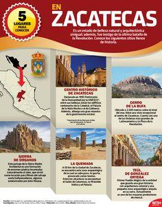 Zacatecas es un estado de belleza natural y arquitectónica incomparable. Conoce 5 lugares que no puedes dejar pasar para visitar. #InfografíaNTX