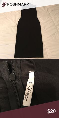 "Black Knee-light pencil dress by Cefian Size Small Black Knee-length pencil dress by Cefian in excellent condition. Never worn. Zips in back. Shoulder to bottom of dress measures 41"". Very professional looking. Pet free/Smoke free home. Ships next day. Cefian Dresses Midi"