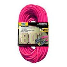 Neon pink extension cord. This would go great with my pink wheelbarrow and pink tool kit!