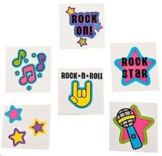 Pack of 12 - Funky Rock Star Temporary Tattoos - Great Party Loot Bag Fillers: Amazon.co.uk: Toys & Games