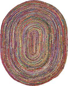 Unique Loom Braided Chindi Area Rug (Multi x Oval), Multicolor