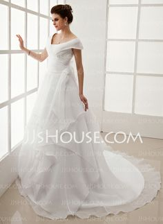 Wedding Dresses - $133.19 - A-Line/Princess Off-the-Shoulder Sweep Train Organza Satin Wedding Dresses With Ruffle (002012708) http://jjshouse.com/A-line-Princess-Off-the-shoulder-Sweep-Train-Organza-Satin-Wedding-Dresses-With-Ruffle-002012708-g12708