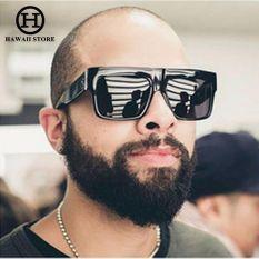 697091670312ad Sunglasses Men Flat Top Square Style Brand Design Vintage Sun Glasses for  Women Big Kardashian Shades