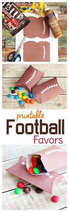Try these free printable football party favor boxes with a pigskin texture. They make great little football treat bags for your party guests!