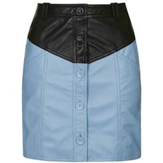TopShop Colour Block Leather Skirt ($25) ❤ liked on Polyvore featuring skirts, blue, bottoms, topshop, blue skirt, block print skirts, colorblock skirts, real leather skirt and color block skirt