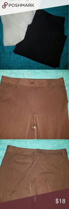 Talbots Brown Stretch Pants Nice heavy weight brown stretch pants from Talbots. Four pocket styling. Polyester rayon spandex. Size 10. Waist 17 inches flat. Inseam 32 inches. Leg opening 11 inches. Talbots Pants Straight Leg