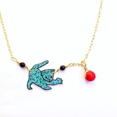 Turquoise Cat Necklace Kinetic Jewelry Shrink Plastic by Rakunshop for sale on Etsy and at Rakun, $30.00