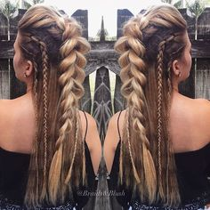 hairstyles for long hair hair vikings hairstyles for white girls to braid hairstyles for short hair hairstyles homecoming hairstyles real hair braided hairstyles hairstyles romantic Pretty Hairstyles, Easy Hairstyles, Hairstyle Ideas, Viking Hairstyles, Wedding Hairstyles, Hairstyle Braid, Mohawk Braid, French Braid Mohawk, Long Hair Mohawk