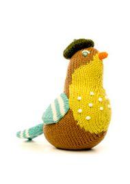 Cute little knit bird rattles.
