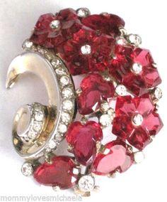 TRIFARI-Rare-Ruby-Red-Fruit-Salad-Glass-Flowers-Rhinestone-Fur-Clip