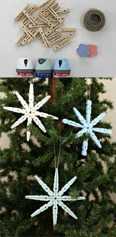 Ingeniosa decoración navideña con pinzas de madera