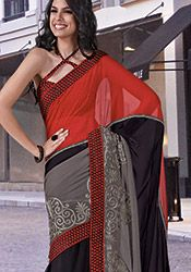 Multicolored Embroidered Georgette Saree. http://luxurystyleicons.com/cbazaar