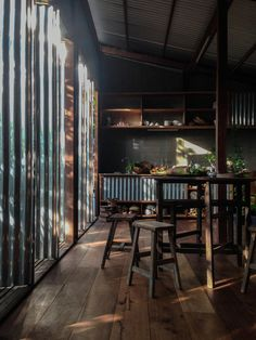 Article: A House In Chau Doc Designed By NISHIZAWAARCHITECTS // This residence in Chau Doc, a town in Southern Vietnam by the Cambodian border, was designed to provide a shared home for three couples and their children. Contemporary Architecture, Interior Architecture, Interior And Exterior, Chau Doc, Thai House, Unusual Homes, Japan Design, Corrugated Metal, Natural Home Decor