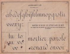 """Principes d'écriture 21   Édité vers 1880, """" Recueil méthodique de principes d'écriture par P. Meyrat ; inscrit sur la liste des ouvrages fournis gratuitement par la Ville de Paris à ses Ecoles"""""""