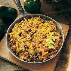 Chili Skillet Recipe  This is an AWESOME recipe.  Made it over the weekend.  Added some cayenne pepper to spice it up and used regular instant rice instead of long grain and left out the olive (yuck) but still delicious!
