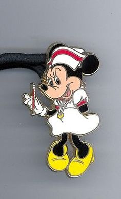 Disney Nurse Minnie Mouse w/ Thermometer Cast Exclusive Pin Lanyard ID Tag