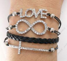 Infinity Bracelet,Cross Bracelet,Love bracelet,8 bracelet,rhinestone bracelet,multistrand leather bracelet with brass charms, shop at Costwe.com