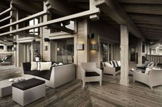 Chalet Karakoram in Courchevel 1850 has a stunning outdoor balcony terrace space with plenty of seating, perfect for relaxing with a glass of wine after a days skiing. Ski Chalet, Floor Design, House Design, Courchevel 1850, Chalet Design, Outdoor Balcony, Outdoor Lounge, Outdoor Areas, Hotels