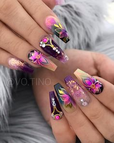 70 Alluring Acrylic Coffin Nails Design Ideas This Summer – … – Nail Art Beautiful Nail Designs, Cute Nail Designs, Acrylic Nail Designs, Fruit Nail Designs, Dope Nails, Bling Nails, My Nails, Fabulous Nails, Gorgeous Nails