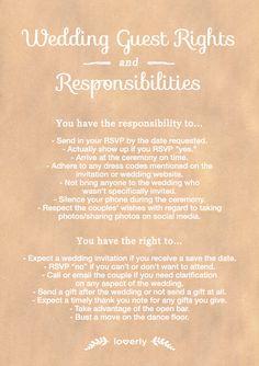 Wedding Tip: Wedding guest rights & responsibilities