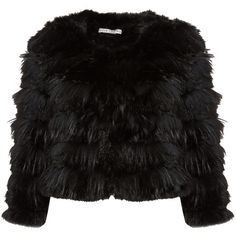 Alice + Olivia Fawn Fur Jacket ($899) ❤ liked on Polyvore featuring outerwear, jackets, black, coats, fur jacket and alice olivia jacket