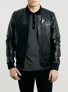 BLACK LEATHER MA1 BOMBER JACKET
