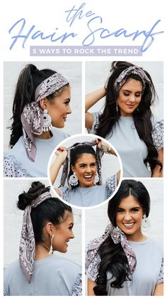 How To Rock A Hair Scarf 5 Ways! We are so obsessed with the new hair scarf trend! Hair Scarf Styles, Curly Hair Styles, Natural Hair Styles, Hair Scarf Wraps, Hair Scarfs, Hair With Scarf, Scarf Top, Headband Hairstyles, Braided Hairstyles