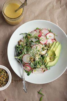 Avocado, Radish + Sprout Salad with Tangy Miso Dressing - Happy Hearted Kitchen - Salad Recipes Avocado Recipes, Healthy Salad Recipes, Healthy Soup, Lunch Recipes, Real Food Recipes, Vegetarian Recipes, Healthy Eating, Radish Sprouts, Sprouts Salad