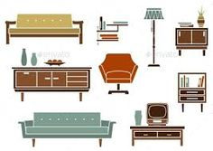Buy Flat Interior Furniture and Accessories by VectorTradition on GraphicRiver. Flat interior design for living room with wooden chests of drawers and bookshelf, upholstered sofas, armchair, floor . Flat Interior Design, Interior Design Living Room, Floor Plan Symbols, Retro Sofa, Home Icon, Sofa Styling, Wooden Chest, Upholstered Sofa