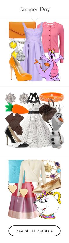 """""""Dapper Day"""" by fabulousgurl ❤ liked on Polyvore featuring ABS by Allen Schwartz, Milly, Burberry, Lodis, Maison Olivia, Disney, Brian Atwood, disneybound, figment and Mark Davis"""