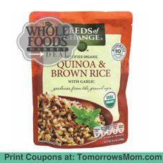 PPL love this rice here's a deal on it at whole foods with no limitations. Now through the 17th of this month (November 2015) you can grab a pack of Seeds of Change Rice at Whole Foods for only $1.00 Each. __________________________________________ Seeds of  Change Organic Rice pouch 8.5oz $2.50 Each (Ends 11/17) Use one (1) $1.50/1 Seeds of CHange Organic Food product (under zip code 33602FL). Pay: $1.00 Each! print your coupon follow the link in my Bio @Tomorrowsmom #tomorrowsmom…