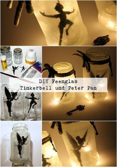 DIY fairy jar Tinkerbell / Peter Pan easily do it yourself-DIY Feenglas Tinkerbell / Peter Pan ganz einfach selber machen DIY fairy glass Tinkerbell and Peter Pan: DIY, handicrafts, … - Peter Pans, Fête Peter Pan, Peter Pan Party, Pot Mason, Mason Jar Crafts, Mason Jars, Peter Pan Crafts, Do It Yourself Upcycling, Fairy Jars
