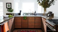 11 Styling Tricks to Make Your Home Look Like a Magazine // exotic wood kitchen cabinets, modern kitchens