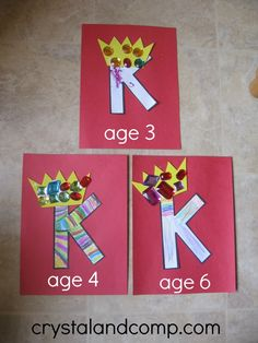 K is for King letter of the week - for different ages