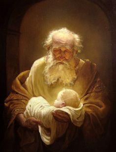 Simeon and Jesus. Painting by Russian artist Andrey Shishkin