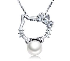 d827e43bd Details about Hello Kitty Necklace+Freshwater Pearl 925 Sterling Silver  Pendant Chain Necklace