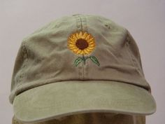 This Listing is for 1 - New Embroidered SUNFLOWER AUTUMN GARDEN BASEBALL HAT (HAT PICTURED IS KHAKI) Adams Optimum 6 Panel Baseball Hat Low