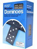 Double 9 Dominoes Black With White Dots Wooden Dominoes 55 PCS By C&H®