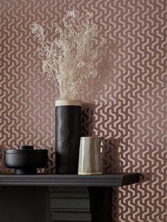 Stilig geometrisk design med metallisk folie-effekt. Rattan, Vase, Wallpapers, Elegant, Design, Home Decor, Madness, Wicker, Classy