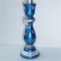 Hand Painted Candle Holder Blue and Silver with White by ellenray, $12.00
